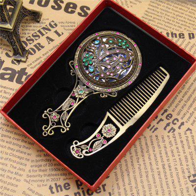 MCYH 1PC Pattern Retro Traveling Mini Delicate Gift Hollow Out Cosmetic Mirror