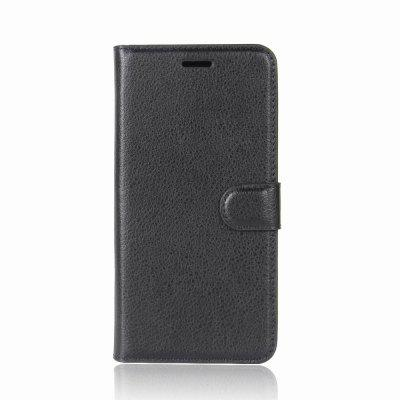 Solid Color Litchi Pattern Wallet Style Front Buckle Flip PU Leather Case with Card Slots for Homtom HT7
