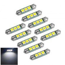 YouOKLight 10PCS 1W 12V Festoon 36mm Cool White LED Car Lamps - Silver + Yellow
