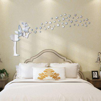 Buy SILVER DIY Little Fairy Mirror Wall Stickers for Wall Decor for $6.47 in GearBest store