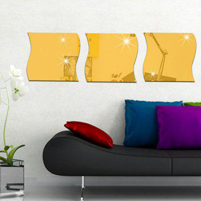 Buy GOLDEN 3pcs DIY Wave Shape Mirror Wall Stickers for Wall Decor for $9.37 in GearBest store