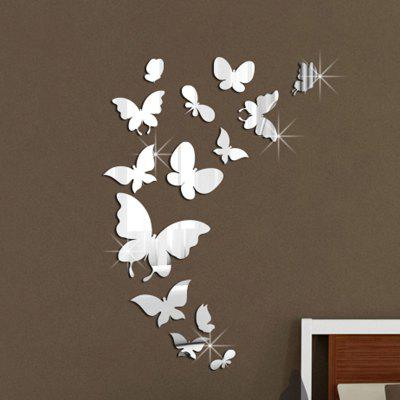 Buy SILVER DIY Butterfly Mirror Wall Stickers for Wall Decor for $6.53 in GearBest store