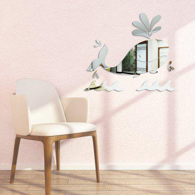Buy SILVER DIY Whale Mirror Wall Stickers for Wall Decor for $6.20 in GearBest store