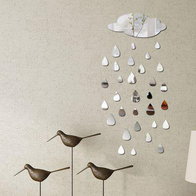 Buy SILVER DIY Clouds Raindrops Mirror Wall Stickers for Wall Decor for $7.04 in GearBest store