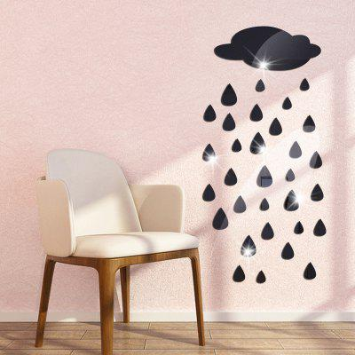 Buy BLACK DIY Clouds Raindrops Mirror Wall Stickers for Wall Decor for $7.04 in GearBest store