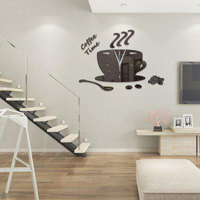 DIY Coffee Time Acrylic Mirror Wall Stickers Wall Clock Stickers