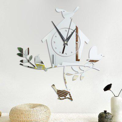 Buy SILVER DIY Bird Nest Acrylic Mirror Wall Stickers Wall Clock Stickers for $10.03 in GearBest store