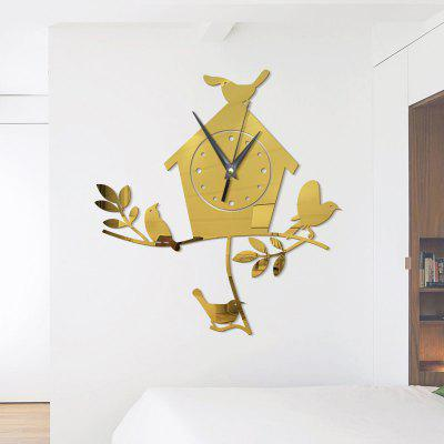 Buy GOLDEN DIY Bird Nest Acrylic Mirror Wall Stickers Wall Clock Stickers for $10.03 in GearBest store