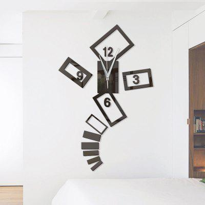 Buy BLACK Home Decoration DIY Acrylic Mirror Wall Stickers Wall Clock Stickers for $8.39 in GearBest store