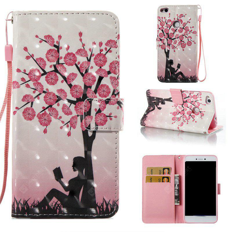 Plum Tree Girl 3D Painted PU Phone Case for Huawei P8 Lite 2017