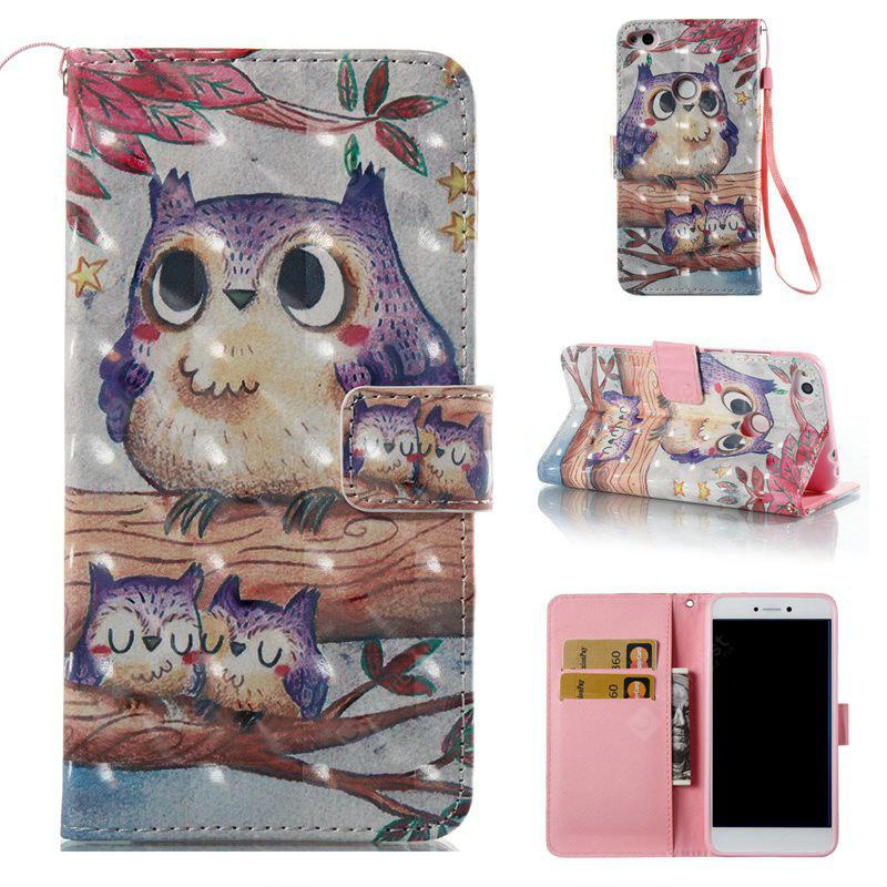 Purple Owl 3D Painted PU Phone Case for Huawei P8 Lite 2017
