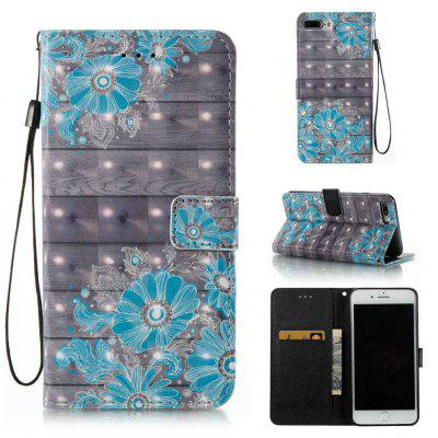 Buy BLUE Blue Flower 3D Painted PU Phone Case for iPhone 7 Plus for $7.42 in GearBest store