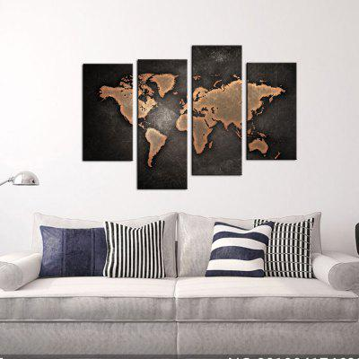 YHHP 4 Panels Brown World Map Print Canvas Art Unframed
