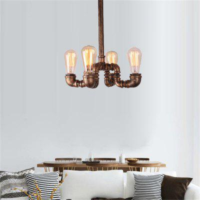 Brightness 4 Heads Vintage Industrial Pipe Simple Loft Iron Pipe Pendant Lights Living Room Dining Room Kitchen Cafe Hallway Bar Decoration Lighting