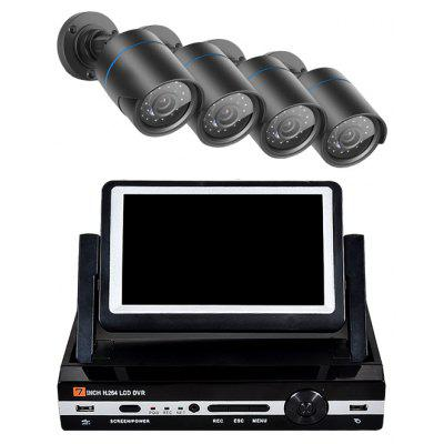 4 Channel Security Camera System 7 inch LCD 1080N AHD DVR 4 x 1.0MP Weatherproof with Night Vision