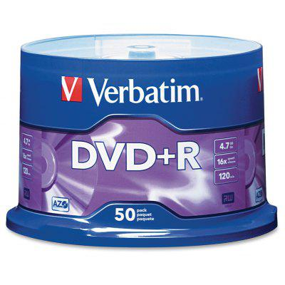 Verbatim 4.7GB Up to 16X Blank Recordable Disc DVD+R 50 Disc Spindle 95037