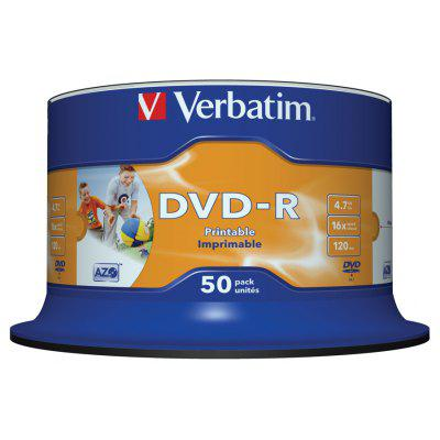 Verbatim 4.7GB Up to 16X White InkJet Printable Blank Recordable Disc DVD-R 50pcs Spindle 43533