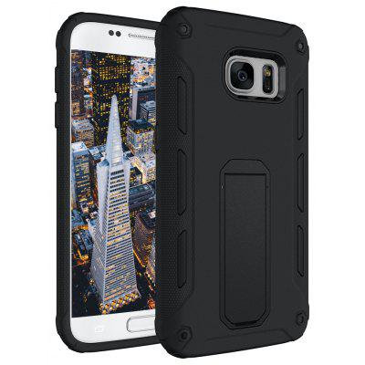 Buy BLACK Hybrid Dual Layer Rugged Shockproof Drop Proof Hard Back Cover Kickstand Protective Case for Samsung Galaxy S7 for $4.12 in GearBest store