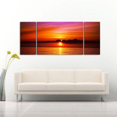Buy ORANGE YHHP 3 Panels Sunset Seascape Picture Print Modern Wall Art on Canvas Unframed for $35.17 in GearBest store