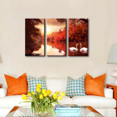Buy RED + BLACK ART Swan lake Printed on Canvas Stretched Paintings 3 panels Ready to Hang for $38.98 in GearBest store