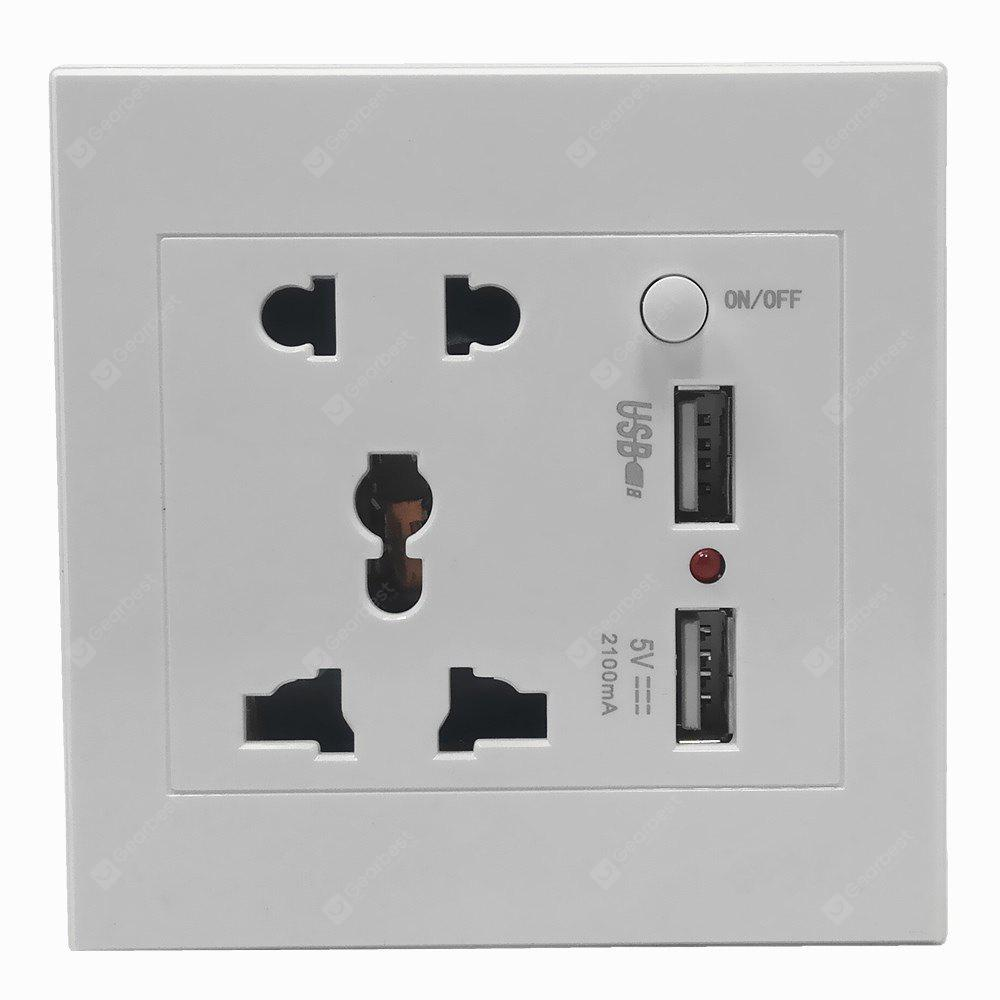 Universal 110-250V ABS 86mm Wall Mount Power Socket Switch with Dual USB Ports 5V 2.1A