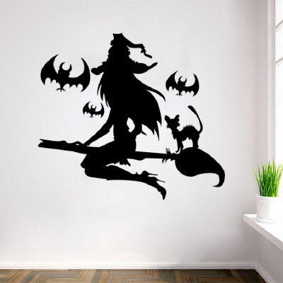 Buy BLACK Witch Flying with Cat Halloween Wall Decal Sticker Art Decor for $3.44 in GearBest store