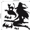 Witch Flying with Cat Halloween Wall Decal Sticker Art Decor - BLACK