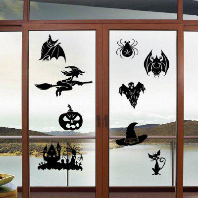 Buy BLACK Halloween Style Sticker Cat Bat Ghost Witch Skull Spider Pattern Home Wall Decor for $3.55 in GearBest store