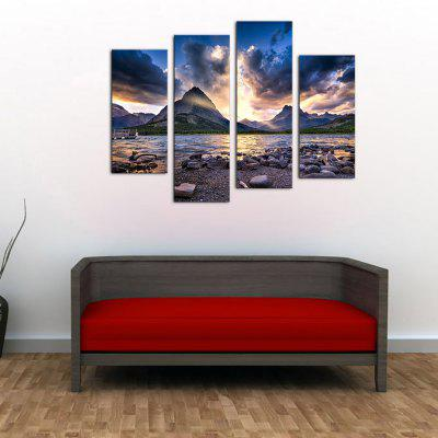 Buy YHHP 4 Panels Mountain Stream Sunset Landscape Picture Print Modern Wall Art on Canvas Unframed, COLORMIX, Home & Garden, Home Decors, Wall Art, Prints for $22.34 in GearBest store