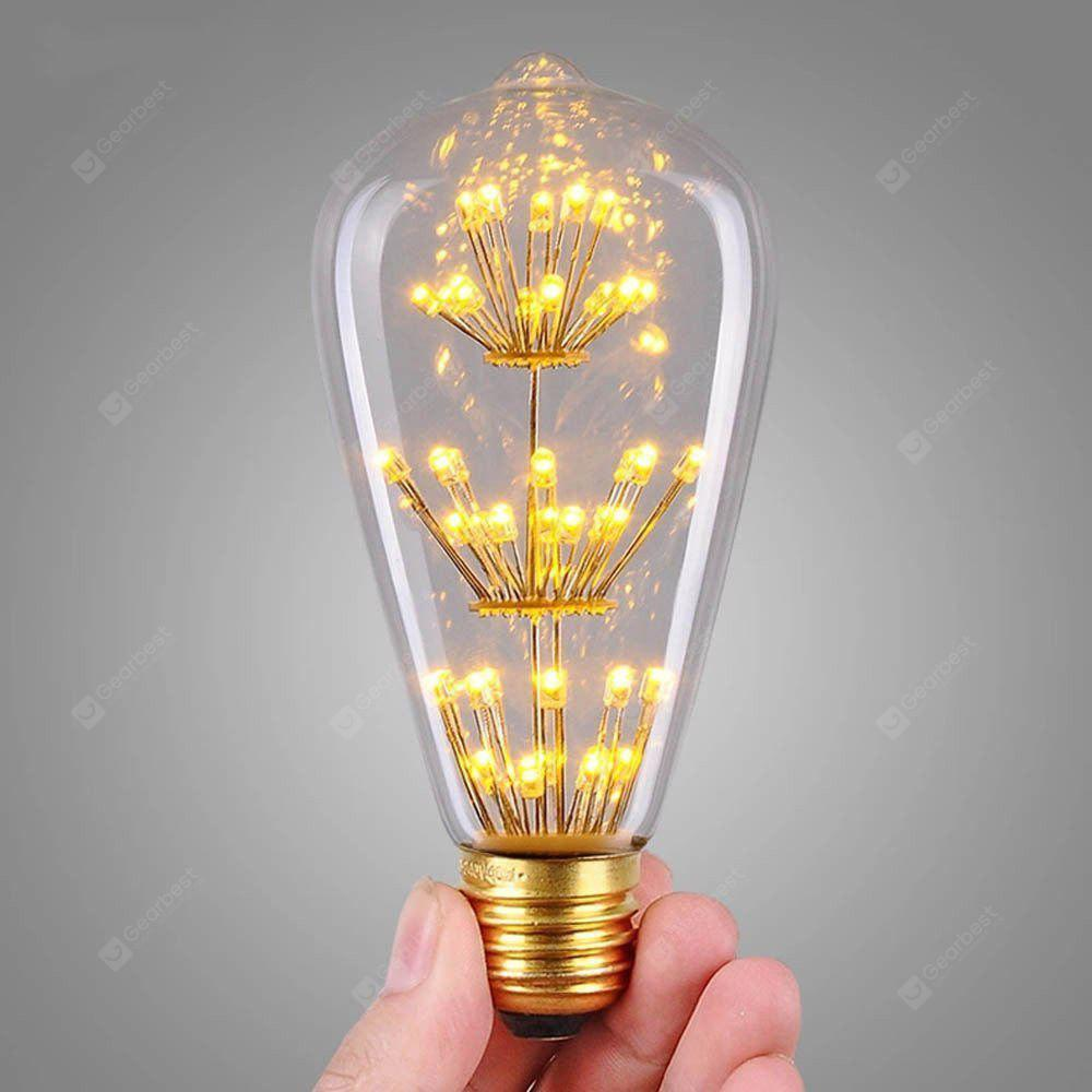 CLEAR WHITE SUPli 1Pack Vintage Edison Bulbs AC 220V 240V 3W Bright Starry Style Squirrel Cage Light Bulb for Home Lamp Lighting Fixtures Decorative Antique Filament Nostalgic Glass E27 Medium Base Warm Yellow