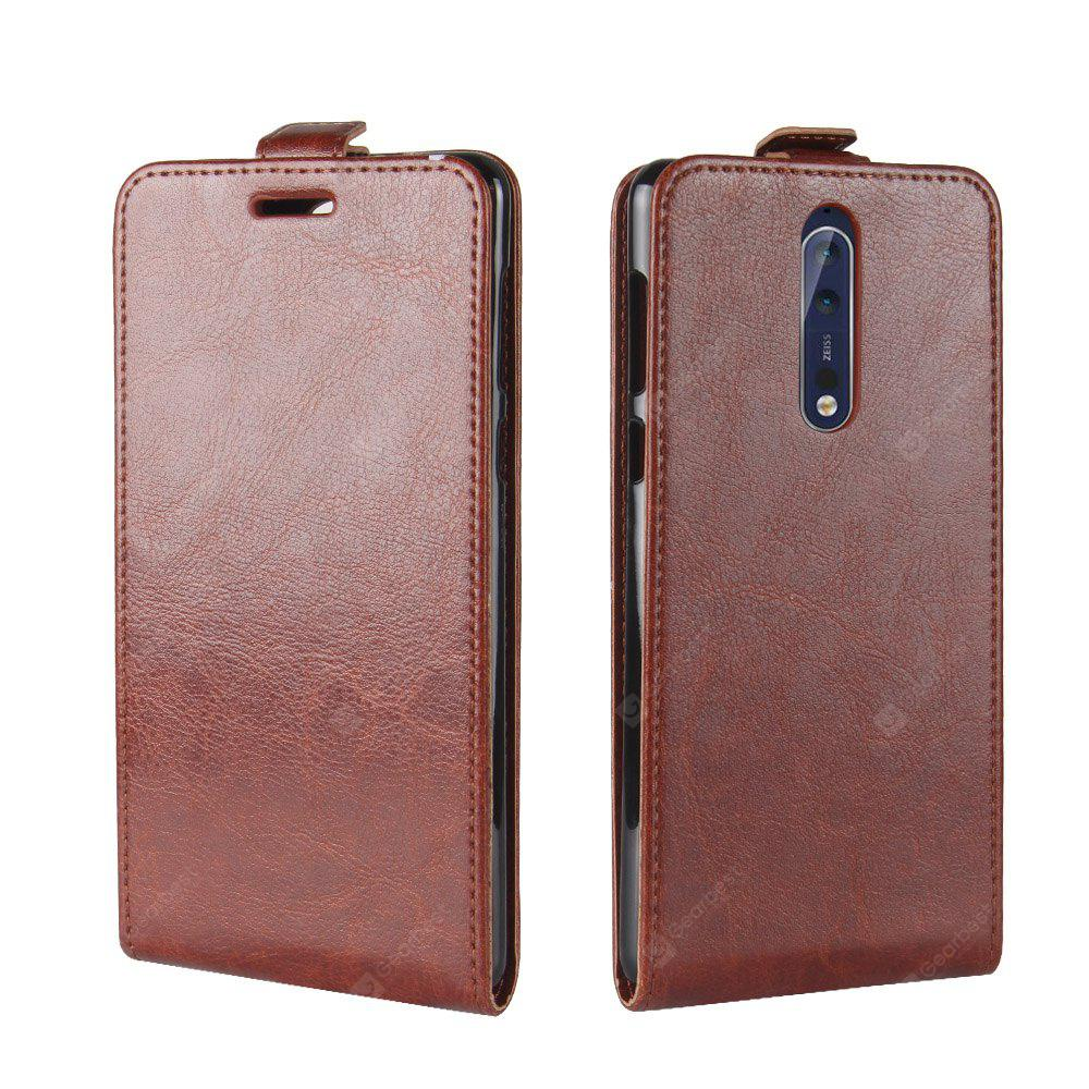 Durable Crazy Horse Pattern Up and Down Style Flip Buckle PU Leather Case for Nokia Lumia 8