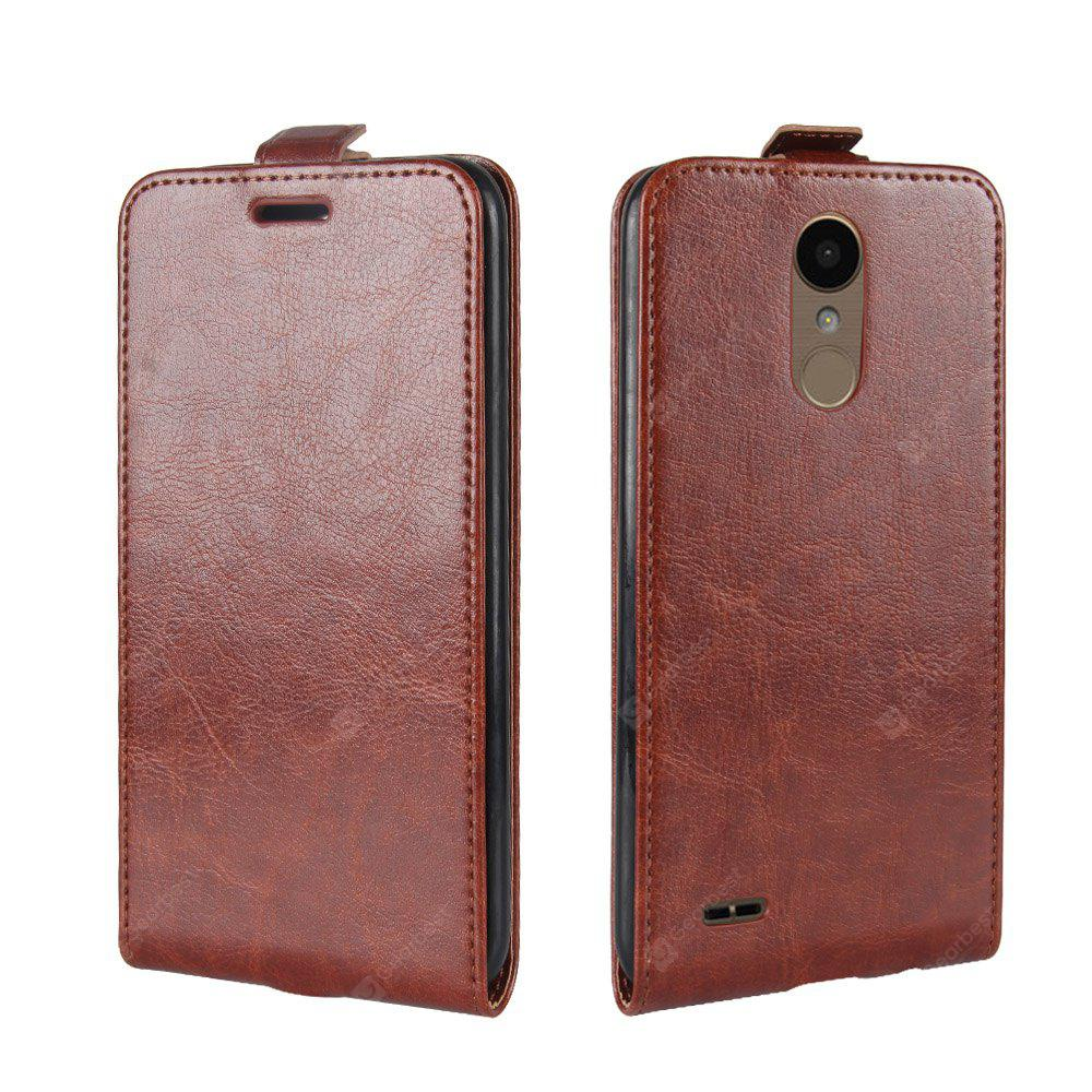 BROWN Durable Crazy Horse Pattern Up and Down Style Flip Buckle PU Leather Case for LG K10 2017 (Europe Edition)