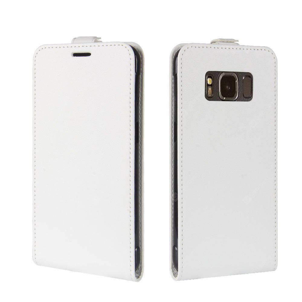 WHITE Durable Crazy Horse Pattern Up and Down Style Flip Buckle PU Leather Case for Samsung Galaxy S8 Active