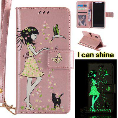 Buy ROSE GOLD Women Cat Luminous Painted PU Phone Case for iPhone X for $6.30 in GearBest store