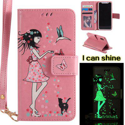 Buy PINK Women Cat Luminous Painted PU Phone Case for iPhone X for $6.30 in GearBest store