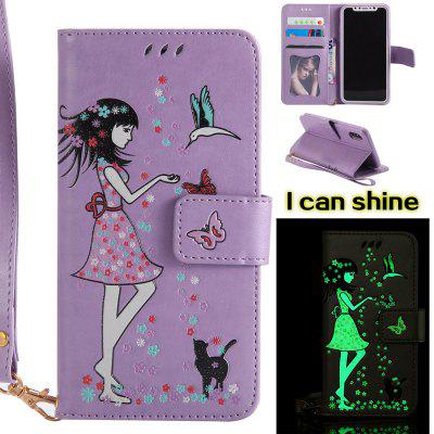 Buy LIGHT PURPLE Women Cat Luminous Painted PU Phone Case for iPhone X for $6.30 in GearBest store
