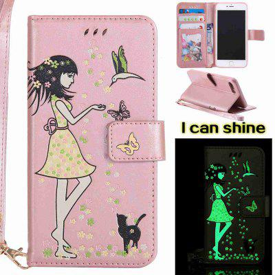 Buy ROSE GOLD Women Cat Luminous Painted PU Phone Case for iPhone 7 Plus for $6.48 in GearBest store