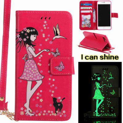 Women Cat Luminous Painted PU Phone Case for iPhone 7 Plus -  5.89 Free  Shipping 1948a82791