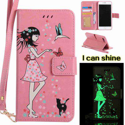 Buy PINK Women Cat Luminous Painted PU Phone Case for iPhone 7 Plus for $6.48 in GearBest store