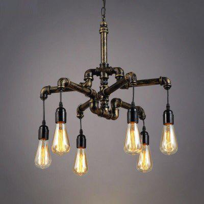Brightness 6 Heads Vintage Industrial Pipe Simple Loft Iron Pipe Pendant Lights Living Room Dining Room Kitchen Cafe Hallway Bar Decoration Lighting