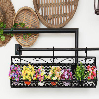 Balcony Ornaments Metal Black Flower Stand