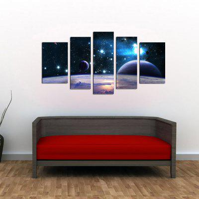 YHHP 5 Panels Space Galaxy Picture Print Modern Wall Art on Canvas Unframed