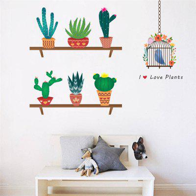 Buy Home Decoration New Cartoon Cactus Bird Cage Wall Stickers for Decor, COLORMIX, Home & Garden, Home Decors, Wall Art, Wall Stickers for $5.16 in GearBest store