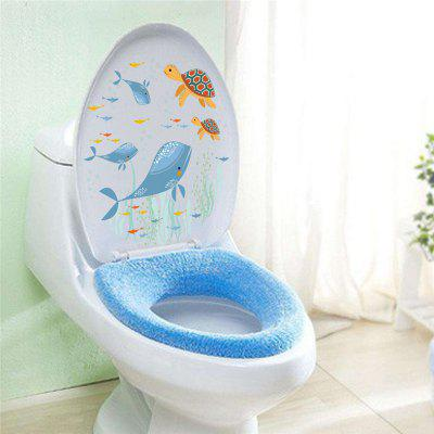 Home Decoration Sea World Whale Turtles Toilet Removable Wall Sticker for Decor