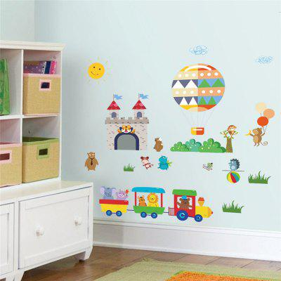 Buy Home Decoration Cartoon Little Train Castle Hot Air Balloonwall Childrens Room Wall Stickers, COLORMIX, Home & Garden, Home Decors, Wall Art, Wall Stickers for $4.13 in GearBest store