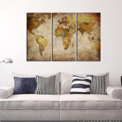 Yhhp 3 Panels The World Map Picture Print Modern Wall Art On Canvas Unframed