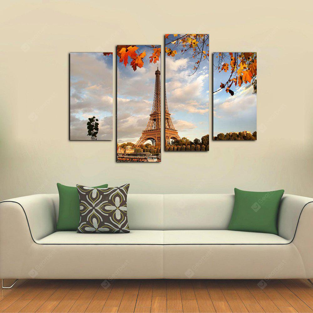 Yhhp 4 Panels Autumn Scenery of Eiffel Tower Picture Print Modern Wall Art On Canvas Unframed