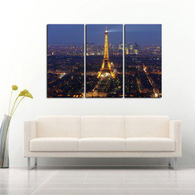 Buy COLORMIX Yhhp 3 Panels Eiffel Tower At Night Picture Print Modern Wall Art On Canvas Unframed for $21.18 in GearBest store