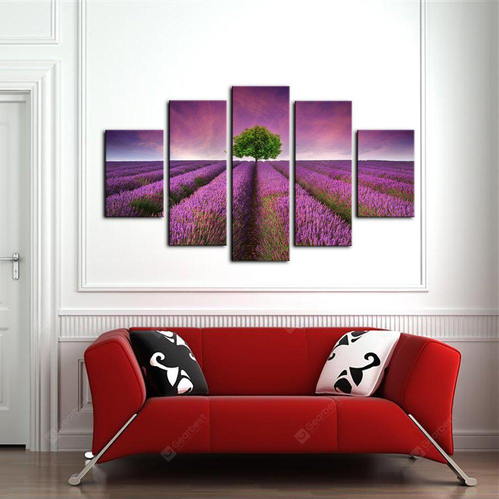 Yhhp 5 Paneles Lavanda Jardín Picture Print Moderno Wall Art On Canvas Unframed