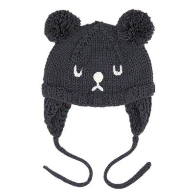 Baby Hat Unisex Cute Bear Pattern Plush Ball Decoration Beanie